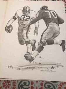 VINTAGE PRINT by Robert Riger of JIM BROWN Cleveland Browns SAM HUFF NY GIANTS