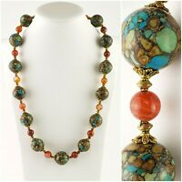 Composite Stone Agate Mosiac Bead Beaded Necklace Chunky Orange Heavy Gold Tone