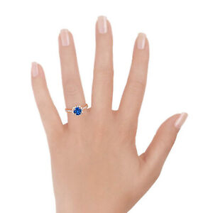 Natural Blue Sapphire Diamond Engagement Ring 2.60 Ct Round Cut 14K Rose Gold