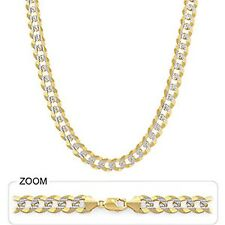 "Heavy Cuban White Pave Necklace Chain Polished 10.7mm 20"" 62gm 14k Two Tone Gold"
