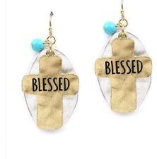 """Handmade """" Blessed """" Cross Blue Beads Earrings"""