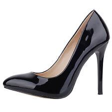 Verocara Black Women Round Toe High Heel Elegant Dress Pump Shoes Size 10