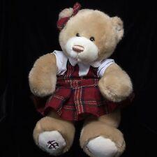 """Brooks Brothers Tan Bear Plaid Dress Plush Soft Toy Gund Stuffed Teddy 17"""" 2014"""