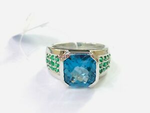 Natural Blue Topaz & Onyx Gemstone with 925 Sterling Silver Ring for Men's #330