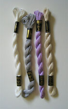 Lot Of 4 Skeins Of # 3 Perle Cotton, 2-Dmc & 2-Anchor White,Ecru,Gray & Lavender