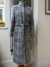 M&S Marks and Spencer Wool Per Una Grey Coat Long Winter Midi Jacket size12/14