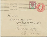 2441 1913 EVII stamped to order postal stationery env uprated 1 1/2 D SOMERSET
