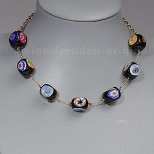 Halskette Collier aus Glas, nach Murano Art bemalt, an Metallkette Geschenk 1762