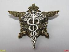 Steampunk broche insignia con Pin Bronce Cresta Escudo de Armas Plata Caduceus Hermes
