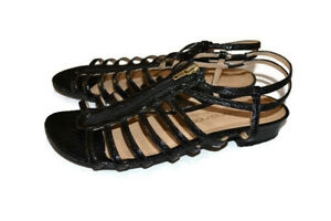 SIMONA RICCI Black Zip Up Strappy Sandal Heel Evening Casual Shoes - Size 9
