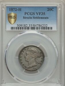 1872 H Straits Settlements 20 Cents, PCGS VF 35, Rare Date, Malaysia