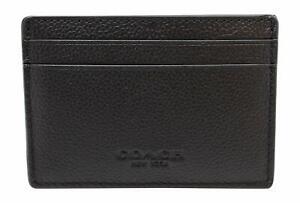 Coach Men's Money Clip Card Case Calf Leather Wallet - Black