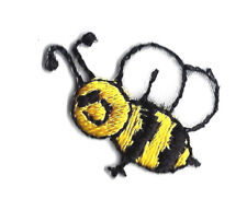 Bee Black & Yellow Tiny Iron On Embroidered Applique Patch Bees Insects
