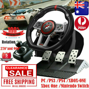 Racing Gaming Steering Wheel 3 Pedals Set Shifter for PC PS3 PS4 Xbox One/360 AU