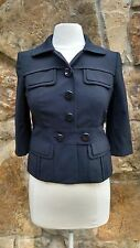Ann Taylor Blazer/Jacket 4P Three Quarter Sleeve Blue Button Down