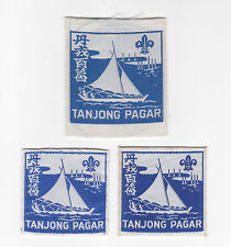 Extinct SCOUTS OF SINGAPORE - TANJONG PAGAR SCOUT DISTRICT PATCH (3 VAR) ~ RARE
