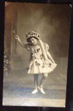 Antique Image Young Girl Dance Ballerina Butterflies  rppc postcard real photo