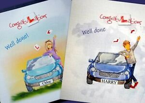 Passed your Driving test Congratulations Card. Pink or Blue. Can be personalised