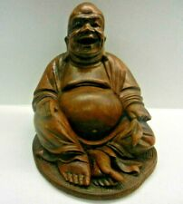 Vintage oriental Carved Wood Laughing Buddha ornament Sculpture Statue figurine