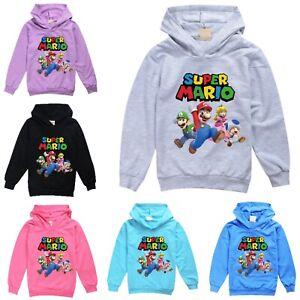 Kids Super Mario 3D World Hooded Tops Boys Girls Sweatshirt Jumper Age 2-14Y UK
