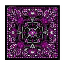 """Purple Sugar Skulls Paisley Skulls Design 21"""" x 21"""" Bandana #1071"""