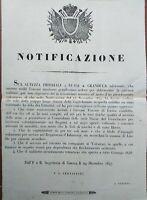 1847 GUERRA FIRENZE NOTIFICAZIONE ARRUOLAMENTO VOLONTARI. NASCE IL RISORGIMENTO