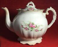 Antique Dresden Porcelain Rose Flower Painted Teapot Some Flaws Still Very Nice