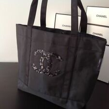 Chanel Cc Vip Gift Logo Black Sequin Magnetic Snap Shopping Beach Tote Bag Nylon