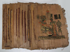"""Lot of 48 Dark Egyptian Papyrus Paintings 8X12"""" Assorted Scenes + Hand Painted"""