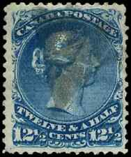 Canada #28ii used F-VF 1868 Queen Victoria 12 1/2c blue Large Queen VARIETY