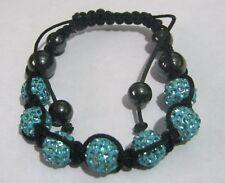 Wonderful adjustable bracelet with duck egg blue and hematite beads