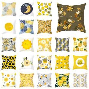 "18"" Nordic Yellow Floral Pillow Case Polyester Sofa Cushion Cover Home Decor"