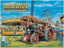 The Burrell Showman's Steam Traction Engine, Fairground, Large Metal/Tin Sign