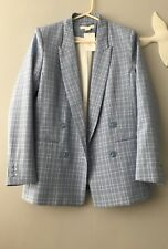 H&M Baby Blue Checked Double breasted blazer jacket UK size 10 EUR 36