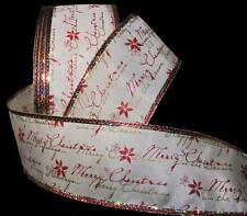"""5 Yards Merry Christmas Writing Red Gold Ivory Pretty Wired Ribbon 2 1/2""""W"""