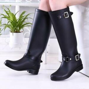 Women's Mid Calf Rain Boots Knee High Rubber Shoes Buckle Strap Waterproof Boot