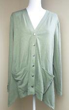 LOGO Lori Goldstein Snap button long sleeve cardigan L olive green pockets