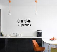 Cupcakes Cocina Comedor Señal Tienda Logo pasteles Adhesivo de pared decorativo