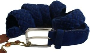 LORO PIANA BLUE BABY CASHMERE SUEDE KNIT BELT- 36/40/42/44/46/- ITALY $695.00