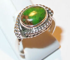 Handmade primitive-style Sterling Silver ring with green Turquoise oval, Size M.