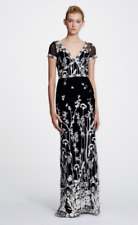 $995 NEW Marchesa Notte Short Sleeve Guipure Lace Gown Black White Embroidered 0