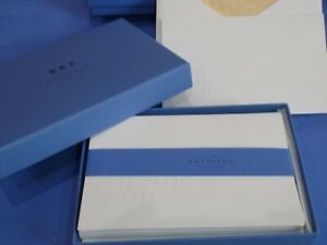 Smythson Note Cards Notelets 'THANKYOU' Set 10 Embossed Tissue Lined Envelopes