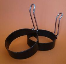 Set of Two Egg Rings with Foldable Handles - Camping BBQ Indoors Outdoors