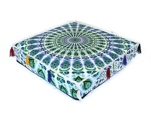 "18X4"" Square Multi Floral Mandala Box Cushion Cover Decorative Pillow Cover"
