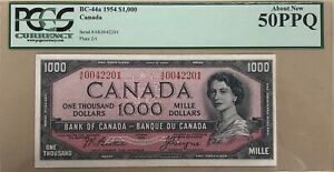 1954 Bank of Canada $1000 Banknote PCGS About New 50 PPQ - Cat#BC-44a - Rare