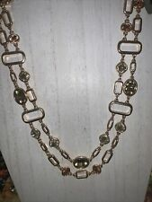 Tone Color Glass Stone Necklace Beautiful 22� 2 Strand Gold