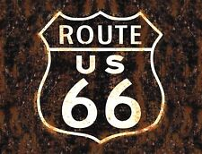 "TIN SIGN ""Route 66 Black""  Highway Deco  Garage Wall Decor Mancave Road Cars"