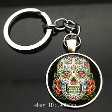 Vintage skull Keychain Cabochon Tibetan silver Glass Metal Key Ring K27