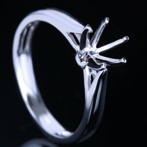 6MM ROUND CUT SOLITAIRE RING SOLID 14K WHITE GOLD SEMI MOUNT ENGAGEMENT RING