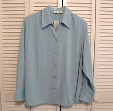 NWT CATO WOMAN LS Button Blouse Plus Sz 18/20W Aqua Blue Polyester